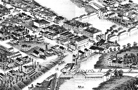Image detail from Portland pictorial perspective map of 1881