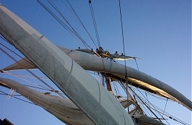Image of crew setting main topgallant on the Tall Ship Bounty