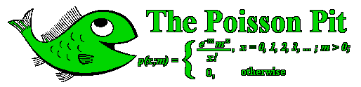 Image of a happy fish and the probability mass function for the Poisson distribution