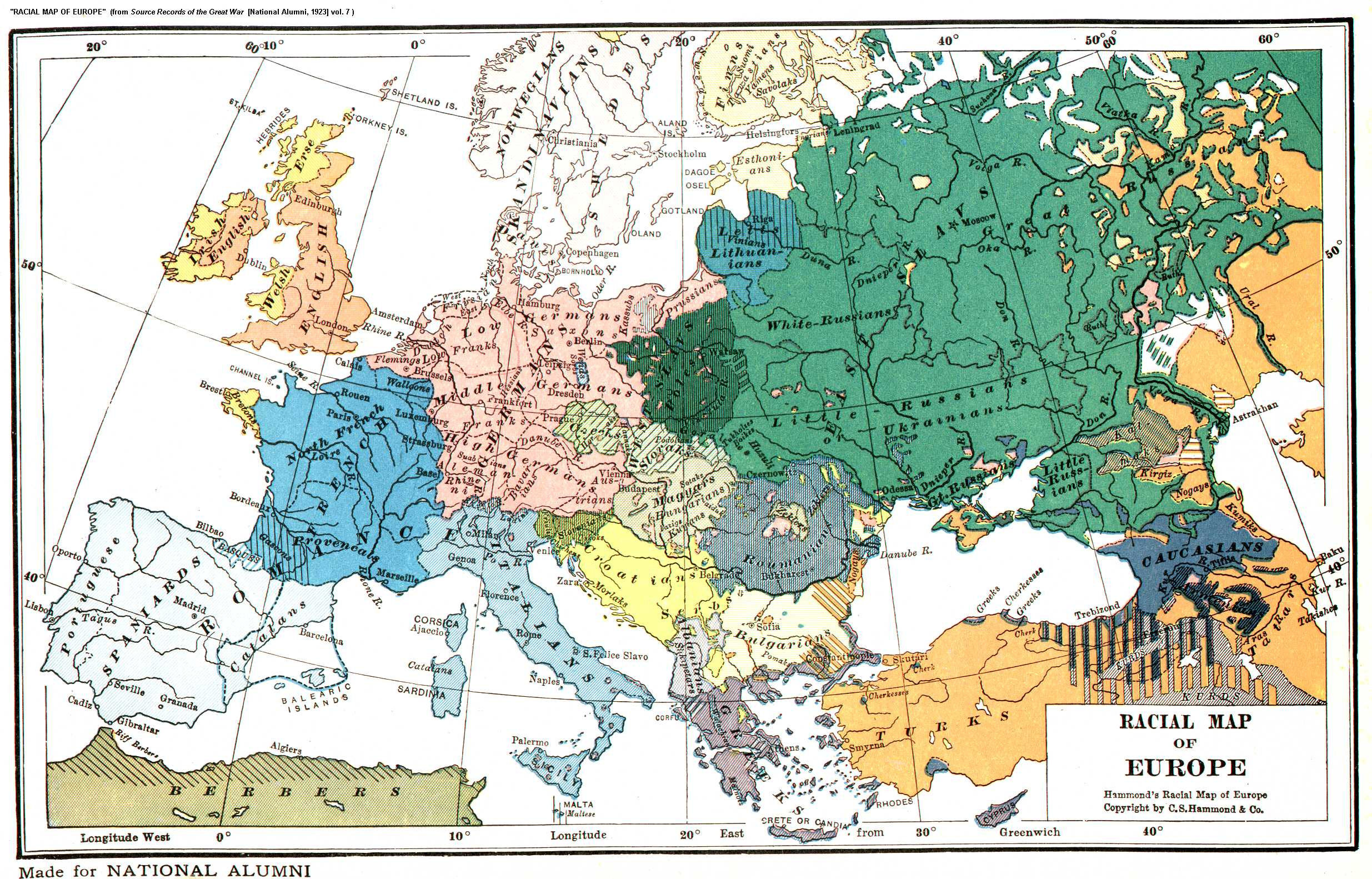 ethnic map of europe Racial [Ethnic] Map of Europe, 1919
